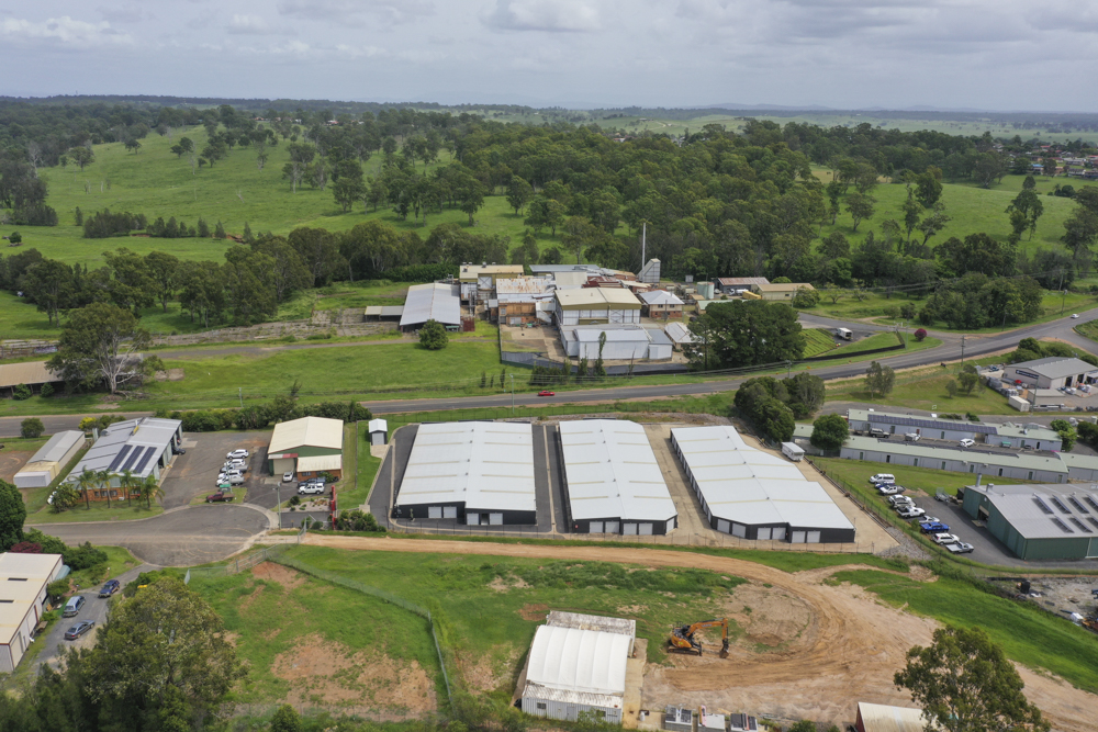aerial view of storage facility and grass