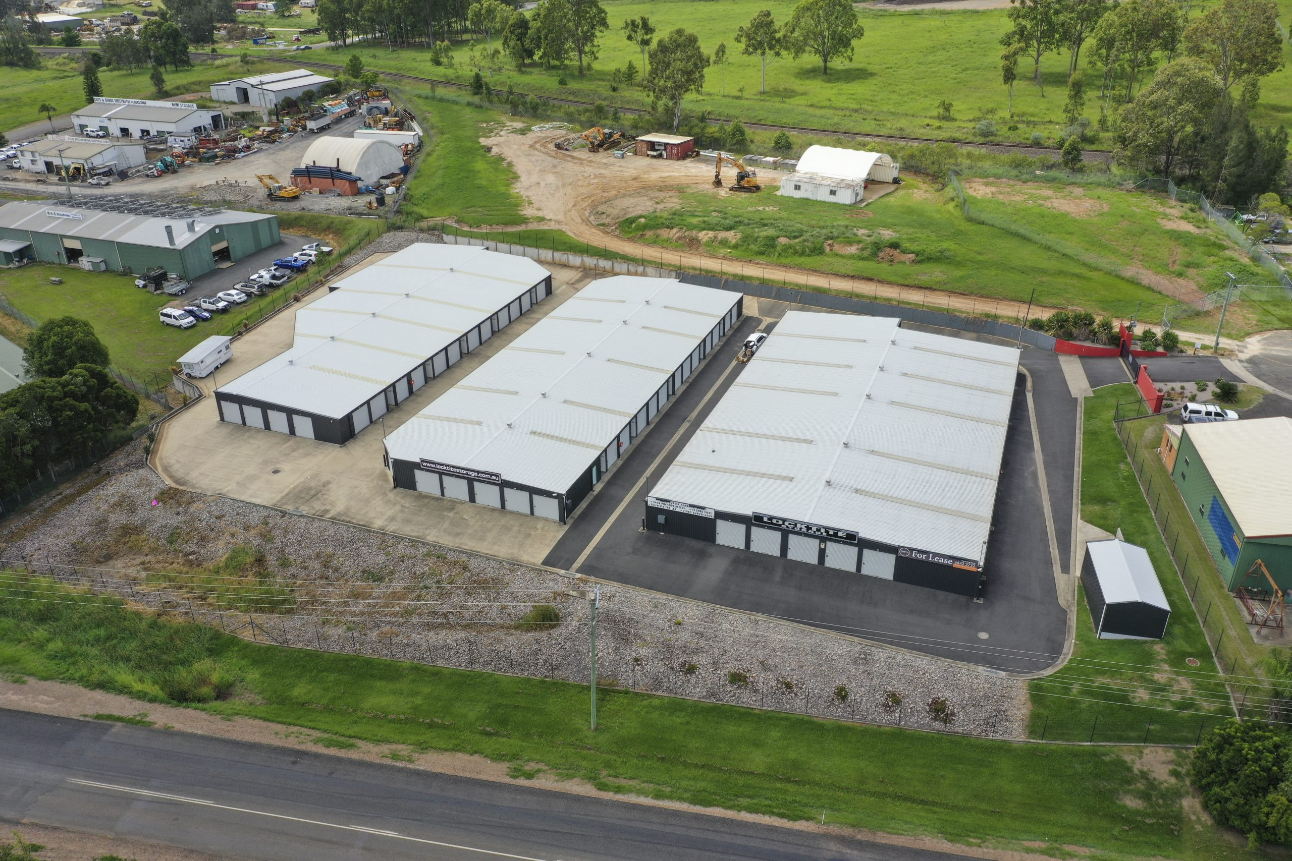 birds eye view of storage shed